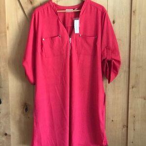New York & Company Hot Pink Tunic3/4 Sleeve